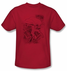 Superman T-shirt DC Comics Metropolis In The City Adult Red Tee Shirt