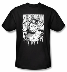 Superman T-shirt DC Comics Super Metal Adult Black Tee Shirt