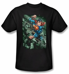Superman T-shirt DC Comics Superhero Indestructible Adult Black Shirt
