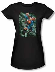 Superman Juniors T-shirt DC Comics Superhero Indestructible Black Tee