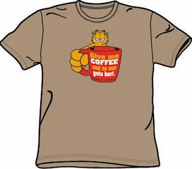 Garfield GIVE ME COFFEE Funny Adult Size T-shirt Tee Shirt