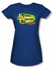 Mighty Mouse Juniors T-shirt Here I Come Girly Royal Blue Tee