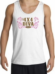 Ford Logo Tank Top - 4x4 Diva Classic Car Adult White Tanktop