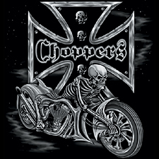 Chopper T-shirt -  Cross Skeleton Biker Tee