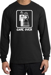 Game Over Long Sleeve Shirt Funny Marriage Black Shirt - White Print