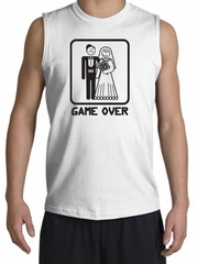 Game Over Shooter Funny Marriage White Muscle Shirt - Black Print