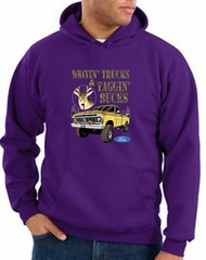 Ford Truck Hoodie Driving and Tagging Bucks Purple Hoody