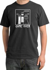 Game Over Ceremony Pigment Dyed Dark Smoke T-shirt - White Print