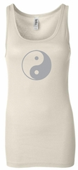 Ladies Yoga Tank Top Yin Yang Big Print Longer Length Tanktop