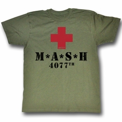 MASH Shirt Red Cross Adult Army Green Tee T-shirt