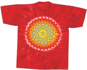 Sahasrara Chakra Yoga Shirt - Red Hot Sun Tie Dye Tee
