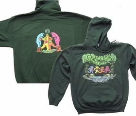 Grateful Dead Hoodie Wood Bears Hooded Sweatshirt Green Hoody