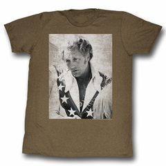 Evel Knievel Shirt Chillin Profile Adult Heather Brown Tee T-Shirt