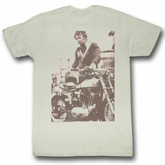Evel Knievel Shirt Sepia Adult Dirty White Tee T-Shirt