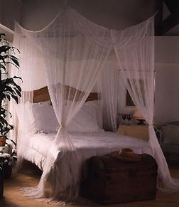 Mombasa®  Majesty  u2022 Four-Point Bed Canopy / Mosquito Net & BuyHammocks.Com u2022 Indoor/Outdoor Mosquito Protection For Home ...