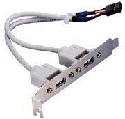 Dual USB Receptacle to Motherboard 2X8 Adapter w/ Mounting Bracket