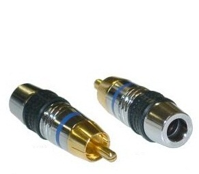 RCA Male Connector for OD 7mm Cable, Blue Band