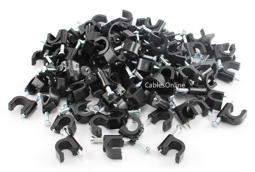 Black 100-Pack Coax RG6 Nail On Cable Clips