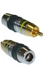 RCA Male Connector for OD 7mm Cable, Yellow Band