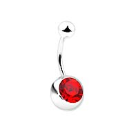 Navel Ring with 8mm Stone - Red Stone Belly Ring ( 14GA )