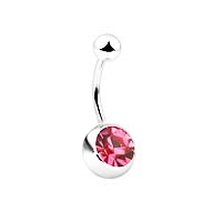 Navel Ring with 8mm Stone - Pink Stone Belly Ring ( 14GA )