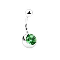 Navel Ring with 8mm Stone - Green Stone Belly Ring ( 14GA )