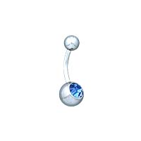 Navel Ring with 8mm Stone - Light Blue Crystal Stone Belly Ring ( 14GA )