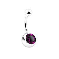 Navel Ring with 8mm Stone - Purple Stone Belly Ring ( 14GA )