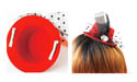 Mini Derby Hat Hair Clip - Clip On Hair Bowler Hat (Red)