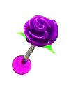 Body Jewelry - Silicone Purple Flower Tongue Bar (14g) - Tongue Ring (1pc)