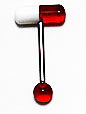 Body Jewelry - Red Medicine Pill Tongue Ring (14g) - Tongue Bar (1pc)