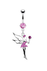 Christal Fairy Dangle Navel Ring - Pink Fairy Belly Ring