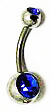 Body Jewelry - Classic Steel Dark Gemstone Belly Button Ring - Navel Ring (1pc)