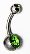 Body Jewelry - Classic Steel Green Gemstone Belly Button Ring - Navel Ring (1pc)