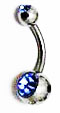 Body Jewelry - Classic Steel Light Blue Gemstone Belly Button Ring - Navel Ring (1pc)