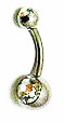 Body Jewelry - Classic Steel Multicolored Gemstone Belly Button Ring - Navel Ring (1pc)