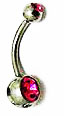 Body Jewelry - Classic Steel Pink Gemstone Belly Button Ring - Navel Ring (1pc)