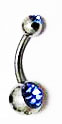 Body Jewelry - Classic Steel Turquoise Gemstone Belly Button Ring - Navel Ring (1pc)