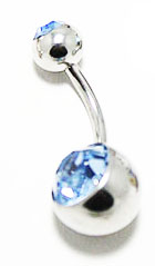 Body Jewelry - Classic Silver Belly Ring with Light Blue Rhinestone (14g) - Navel Ring (1 pc)