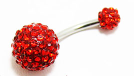 Body Jewelry - Disco Ball Red Bellybutton Ring (14g) - Navel Ring (1pc)