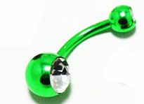 Body Jewlery- Metallic Green Bellybutton Ring with Rhinestone (14g) - Navel Ring (1pc)