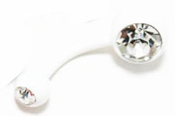 Body Jewlery- Metallic White Bellybutton Ring with Rhinestone (14g) - Navel Ring (1pc)