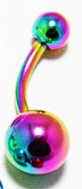 Body Jewelry- Classic Multicolored Metallic Bellybutton Ring (14G) - Navel Ring (1pc)