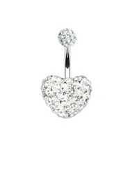 Surgical Steel Multi Gem Heart Bellty Ring - Crystal Clear Heart Navel Ring