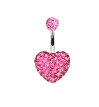 Surgical Steel Multi Gem Heart Bellty Ring - Crystal Pink Heart Navel Ring