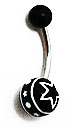 Body Jewelry - Black Belly Ring with White Stars (14g) - Navel Ring (1 pc)