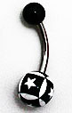 Body Jewelry -Black Belly Ring with Patchwork White Stars (14g) - Navel Ring (1 pc)