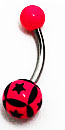 Body Jewely - Hot Pink Belly Ring with Patchwork Black Stars (14g) - Navel Ring (1 pc)