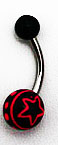 Body Jewelry - Black Belly Ring with Hot Pink Stars (14g) - Navel Ring (1pc)