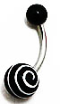 Body Jewelry - Black Belly Ring with White Spirals (14g) - Navel Ring (1pc)